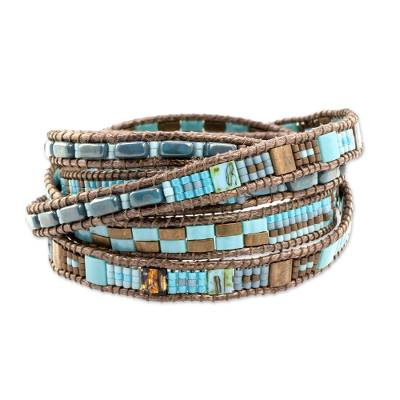 Glass beaded wrap bracelet, 'Traditional Style' - Colorful Glass Beaded Wrap Bracelet from Guatemala
