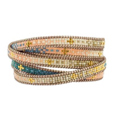 Glass beaded wrap bracelet, 'Cerro de la Cruz' - Colorful Glass Beaded Wrap Bracelet from Guatemala