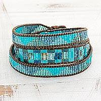 Glass beaded wrap bracelet, 'Country River'