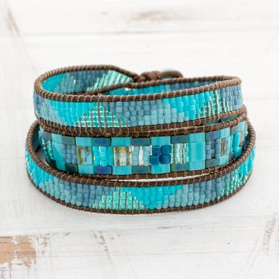 Glass beaded wrap bracelet, 'Country River' - Colorful Glass Beaded Wrap Bracelet from Guatemala