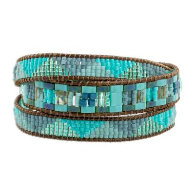 Glass beaded wrap bracelet, 'Country River' - Colorful Glass Beaded Wrap Bracelet from Guatemala