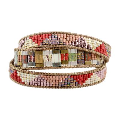 Glass beaded wrap bracelet, 'Earth's Fire' - Colorful Glass Beaded Wrap Bracelet from Guatemala