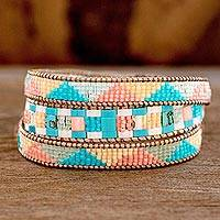 Glass beaded wrap bracelet, 'Pastel Mountains' - Colourful Glass Beaded Wrap Bracelet from Guatemala