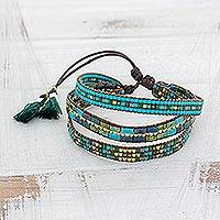 Glass beaded wristband bracelet, 'Soul of the River' - Adjustable Glass Beaded Wristband Bracelet from Guatemala