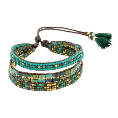 Glass beaded wristband bracelet, 'Soul of the River' - Adjustable Glass Beaded Wristband Bracelet from Guatemala