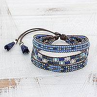 Featured review for Glass beaded wristband bracelet, Soul of the Clouds