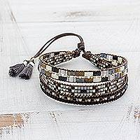 Glass beaded wristband bracelet, 'Soul of Serenity'