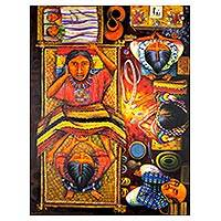 'Childbirth' - Signed Folk Art Childbirth Painting from Guatemala