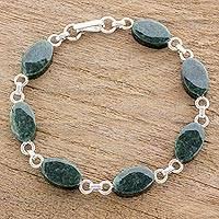 Jade link bracelet, 'Pieces of Love' - Oval Jade and Sterling Silver Link Bracelet from Guatemala