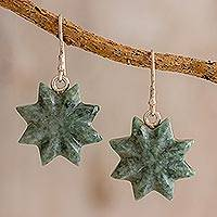 Jade dangle earrings, 'Mayan Succulence' - Star-Shaped Green Jade Dangle Earrings from Guatemala