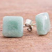 Jade stud earrings, 'Simply Luxurious'