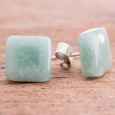 Jade stud earrings, 'Simply Luxurious' - Apple Green Square Jade Stud Earrings from Guatemala