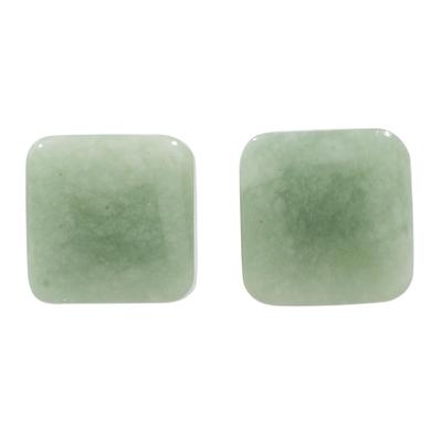 Jade stud earrings, 'Simply Luxurious' - Apple Green Square Jade Stud Earrings from Guatemala