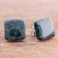 Jade stud earrings, 'Simply Luxurious in Dark Green' - Dark Green Square Jade Stud Earrings from Guatemala