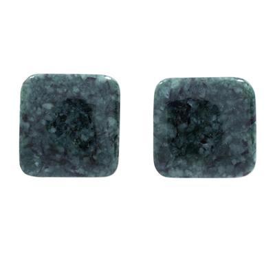 Jade stud earrings, 'Simply Luxurious in Dark Green' - Dark Green Square Jade Stud Earrings from Guatemala