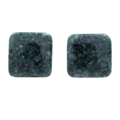 Dark Green Square Jade Stud Earrings from Guatemala