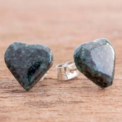 Heart-Shaped Jade Button Earrings from Guatemala, 'Dark Green Love'