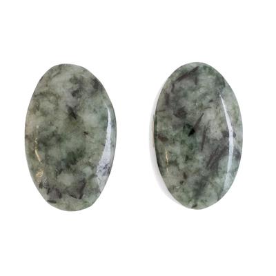 Green Jade Oval Button Earrings from Guatemala