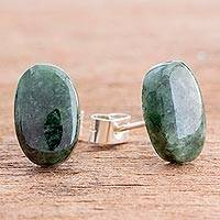 Jade button earrings, 'Oval Simplicity in Dark Green' - Dark Green Jade Oval Button Earrings from Guatemala