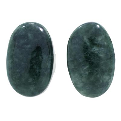 Jade button earrings, 'Oval Simplicity in Dark Green' - Dark Green Jade Oval Button Earrings from Guatemala