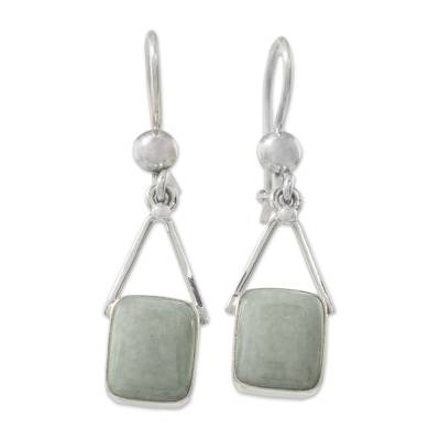 Jade dangle earrings, 'Rectangles of Peace' - Light Green Jade Rectangle Dangle Earrings from Guatemala