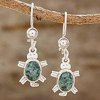 Jade dangle earrings, 'Marine Turtles in Green' - Green Turtle-Themed Jade Dangle Earrings form Guatemala