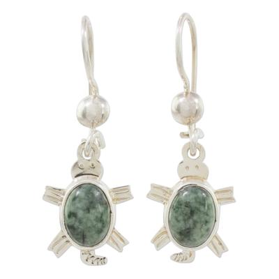 Jade dangle earrings, 'Marine Turtles in Green' - Green Turtle-Themed Jade Dangle Earrings form Guatemala