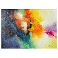 'Marvelous Afternoons' - Signed Colorful Abstract Painting from El Salvador