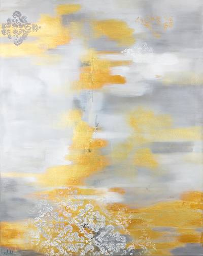 Signed Metallic Abstract Painting From El Salvador Golden Dreams