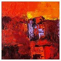 'Summer Breeze' - Signed Abstract Painting in Red and Orange from El Salvador
