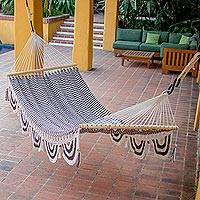 Cotton hammock, 'Afternoon Siesta' (single) - Hand Woven Brown and White Cotton Hammock (Single)