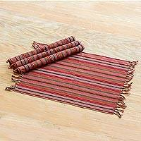 Cotton placemats, 'Earthy Colors' (Set of 4) - 100% Cotton Handwoven Striped Placemats (Set of 4)