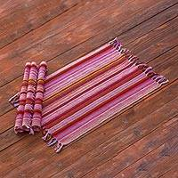 Cotton placemats, 'Field of Wildflowers' (Set of 4) - 4 Colorful Guatemalan Handwoven Striped Cotton Placemats