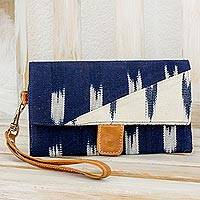 Cotton wristlet with leather trim, 'Blue Skies' - Deep Blue and Ivory Cotton Wristlet with Leather Trim