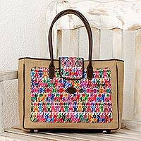 Cotton and leather accent jute shoulder bag, 'Country Geometry in White' - Cotton and Leather Accent Jute Shoulder Bag from Guatemala