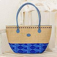 Cotton and leather accent jute shoulder bag, 'Sea Beauty' - Cotton and Leather Accent Jute Shoulder Bag in Blue