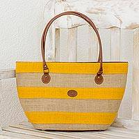 Leather accent jute shoulder bag, 'Marigold Stripes' - Leather Accent Striped Jute Shoulder Bag from Guatemala