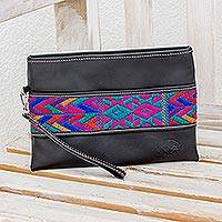 Cotton accent leather wristlet, 'Colorful Night' - Colorful Cotton Accent Leather Wristlet from Guatemala