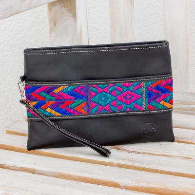 Cotton accent leather wristlet, Colorful Night