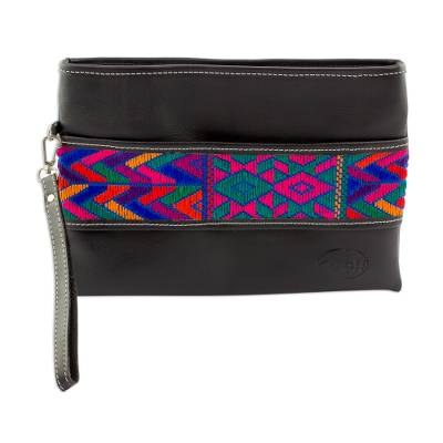 Colorful Cotton Accent Leather Wristlet from Guatemala
