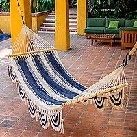 Cotton hammock, 'Night on the Beach' (single) - Hand Woven Striped Cotton Hammock from Nicaragua (Single)