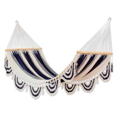 Cotton hammock, 'Night on the Beach' (single) - Hand Woven Striped Cotton Hammock from Nicaragua (Single)