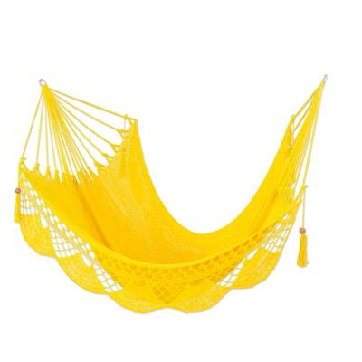 Cotton hammock, 'Fresh Air in Yellow' (single) - Hand Woven Yellow Cotton Hammock from Nicaragua (Single)