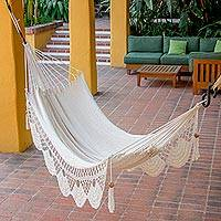 Cotton rope hammock, 'Fresh Air' (single)