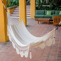 Cotton rope hammock, 'Fresh Air' (single) - Hand Woven Warm White Cotton Hammock (Single)