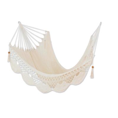 Cotton rope hammock, 'Fresh Air' (single) - Hand Woven Warm White Cotton Hammock (Single)