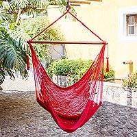 Cotton hammock swing,'Relax in Red' - Hand Woven Red Cotton Hammock Swing
