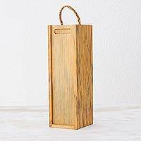 Wood wine case, 'Sweet Moments' - Handcrafted Brown Pinewood Wine Case from Guatemala