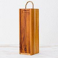 Teakwood wine case, 'Sweet Moments' - Handcrafted Brown Teakwood Wine Case from Guatemala
