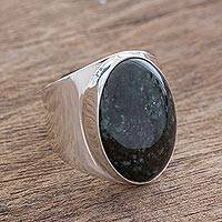 Men's jade ring, 'Truth and Life in Dark Green' - Handmade Men's Dark Green Jade Cocktail Ring from Guatemala